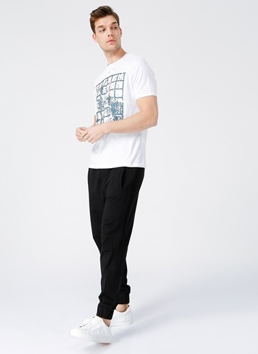 NetWork Network Erkek Desenli Beyaz Bisiklet Yaka Kısa Kol Slim Fit T-Shirt Beyaz